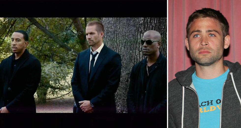 OVERTOK: Paul Walker var opptatt med innspillingen av «Fast & Furious 7» da han ble drept. Her i en scene fra filmen sammen med Ludacris (t.v) og Tyrese Gibson. Walkers yngre bror Cody (t.h) tok over som stand-in for å fullføre bilfilmen.  Foto: NTB Scanpix
