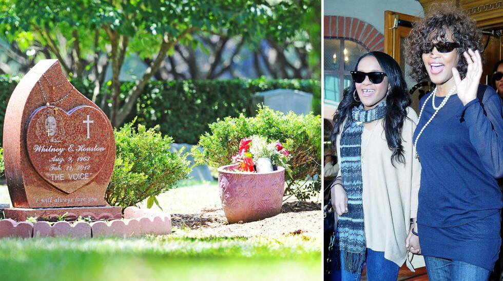 <strong>TRAGISKE SKJEBNER:</strong> I sommer ble Bobbi Kristina Brown gravlagt ved siden av sin mor på Fairview Cemetery i Westfield, New Jersey. Dødsfallene til både Bobbi Kristina og Whitney Houston (t.h) involverte badekarulykker. Foto: Splash News/ Broadimage