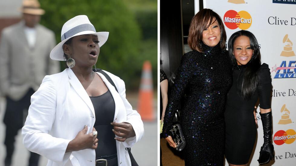 <strong>KRASSE BESKYLDNINGER:</strong> Leolah Brown (t.v), tanten til avdøde Bobbi Kristina Brown (t.h), hevder at både niesen og hennes berømte mor Whitney Houston ble myrdet. Foto: NTB Scanpix