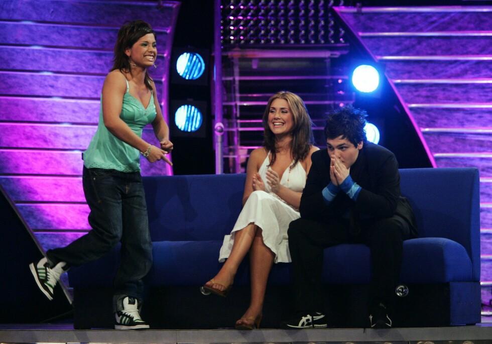 NERVEPIRRENDE: I Idols semifinale i mai 2005 var det Alejandro Fuentes som røk ut av programmet, og Jorun Stiansen og Tone Damli sikret seg finaleplass. Foto: Erlend Aas / SCANPIX . Foto: NTB scanpix