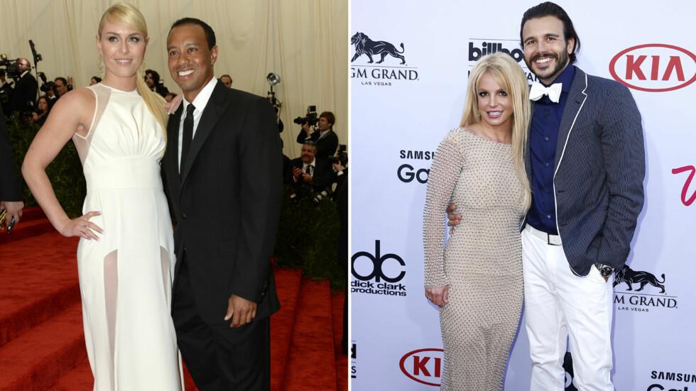 NY ROMANSE?: Alpinist Lindsey Vonn (t.v) brøt med golfstjernen Tiger Woods i starten av mai, mens TV-produsent Charlie Ebersol (t.h) avsluttet sitt forhold med popstjernen Britney Spears få uker senere. Nå skal de to ha funnet tonen. Foto: NTB Scanpix
