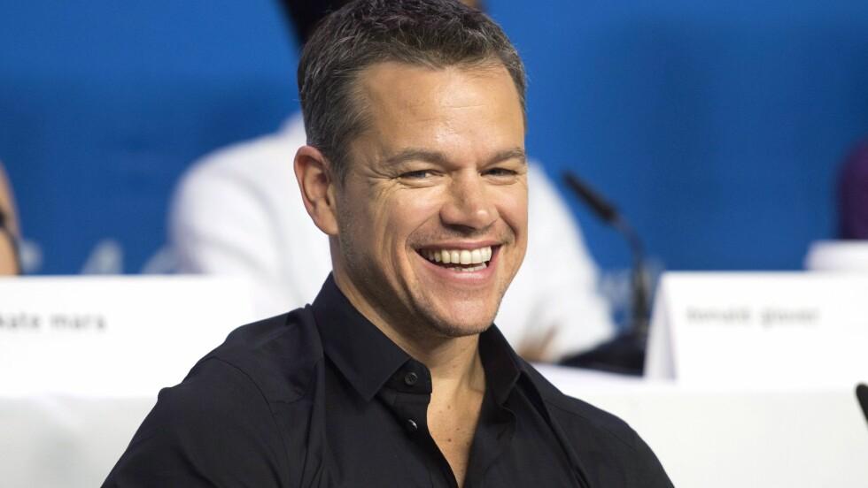 SAVNER USUNN MAT: Matt Damon er altfor glad i god mat til å sette pris på å trene. Neste måned fyller han 45 år, og han innrømmer at alderen begynner å sette sine spor. Foto: NTB Scanpix