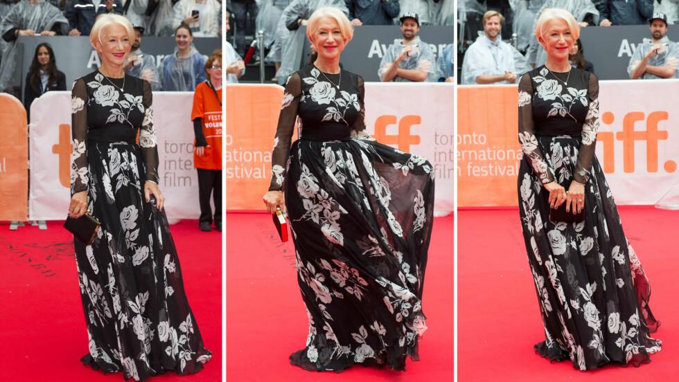 SOM EN GUDINNE: Den britiske filmstjernen Helen Mirren inntok filmfestivalen i Toronto fredag, da krigsfilmen «Eye in the Sky» hadde premiere. 70-åringen tok seg strålende ut på den røde løperen. Foto: NTB Scanpix