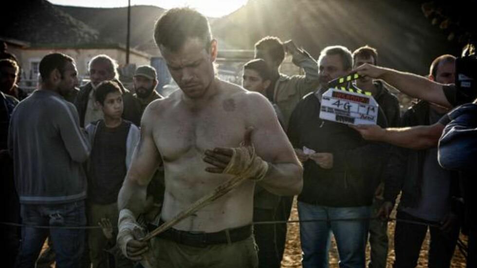 TILBAKE SOM BOURNE: Matt Damon er i gang med innspillingen av den kommende Jason Bourne-filmen. Her er det første bildet fra innspillingen.