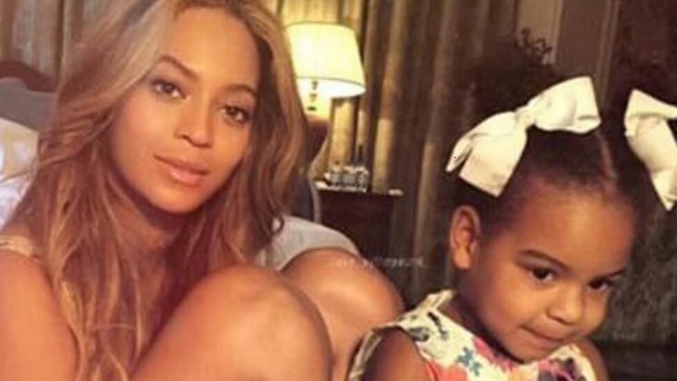 SKJØNNHETER: Beyoncé fikk en hjemmelaget tegning av sin tre år gamle datter Blue Ivy Carter i fødselsdagsgave.  Foto: NTB Scanpix