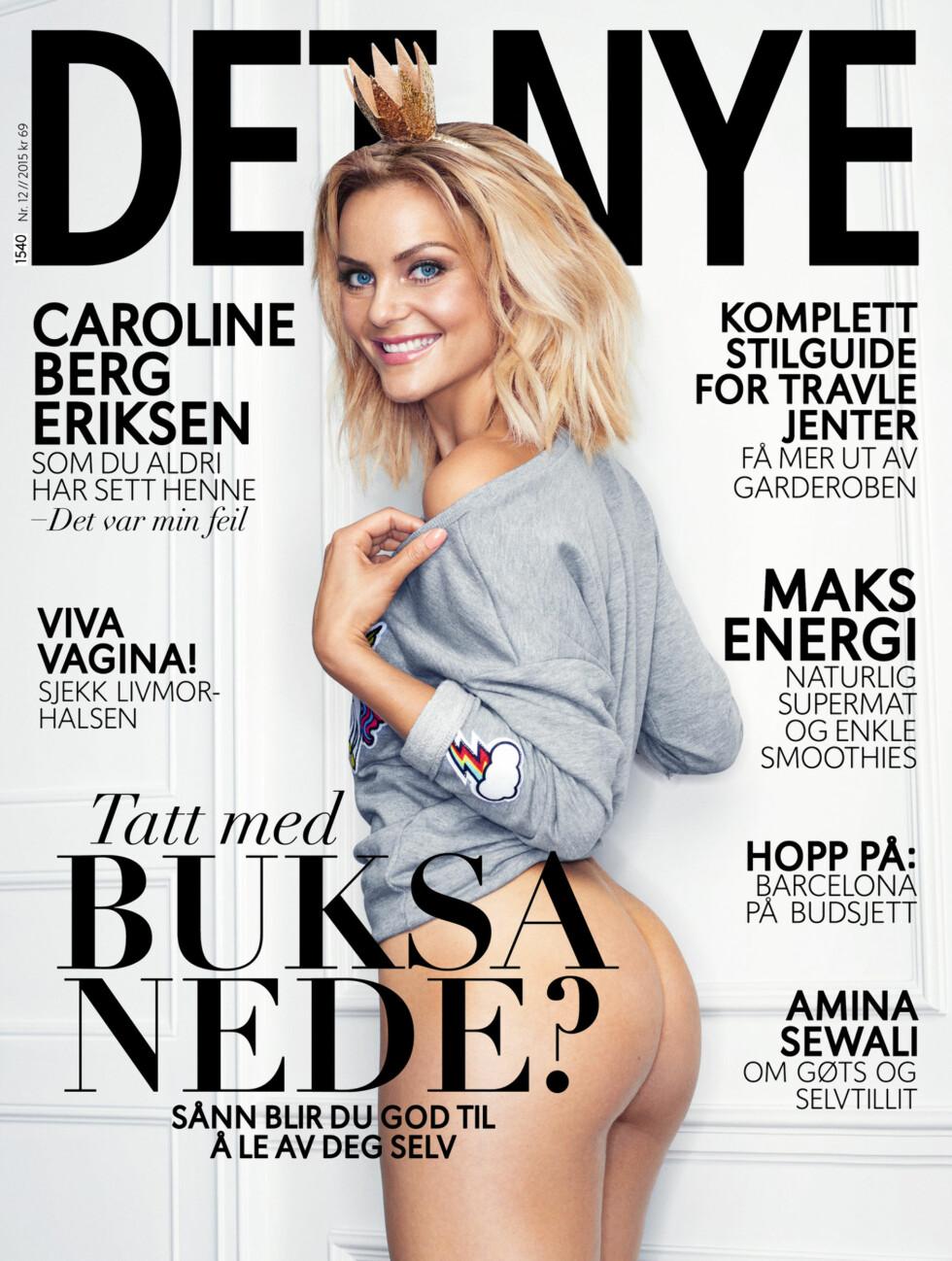 DET NYE: Caroline Berg Eriksen viser seg fram i den nyeste utgaven av bladet Det Nye med rumpa bar.