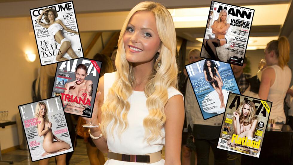 VISER SEG FRAM: Caroline Berg Eriksen er langt fra den første som viser seg naken eller lettkledd på forsiden til et magasin. En rekke andre norske kjendiser har gjort det tidligere. Foto: Se og Hør / Faksimiler