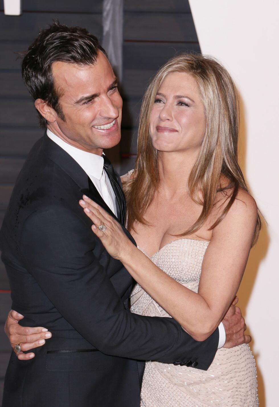 """MANN OG KONE: Da Theroux og Aniston giftet seg nylig, var det ikke alle av sistnevntes """"Friends""""-kollegaer som ble bedt. Foto: Abaca"""