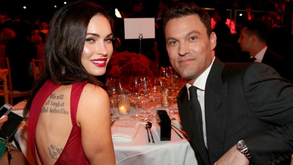 BRUDD: Hollywood-skuespillerne Megan Fox og Brian Austin Green skal ha gått fra hverandre. De har to sønner sammen. Foto: NTB Scanpix