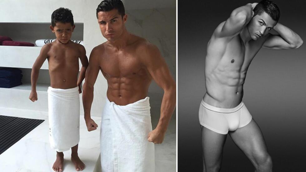 TIDLIG KRØKES: Cristiano Ronaldo har gjort det godt som modell for blant annet Emporio Armani og sitt eget merke CR7 (t.h). Nå viser fotballstjernen på Instagram at sønnen også kan posere! Foto: Xposure/ CapitalPictures