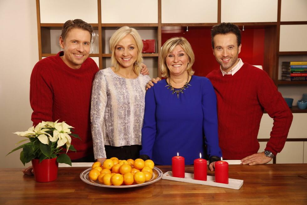 """SLUTTET: Signe Tynning blir ikke lenger å se i """"God morgen Norge"""". Her er hun sammen med (f. v.) Reidar Buskenes, Vår Staude og Peter Moi Bubresko i 2013. Foto: TV 2"""