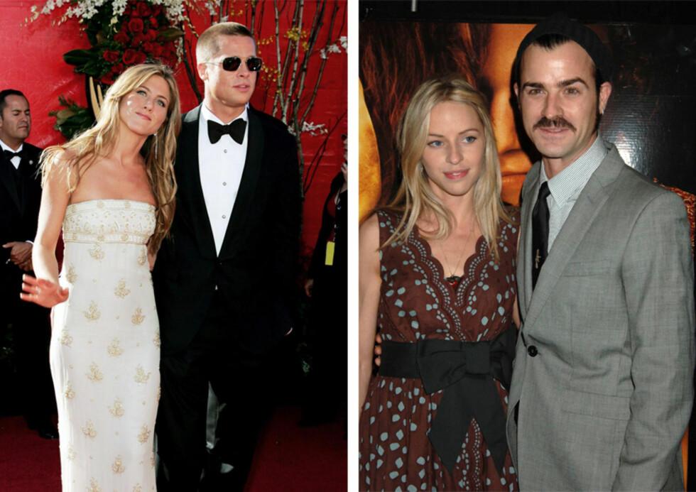 EKSENE: Jennifer Aniston var gift med skuespiller Brad Pitt i årene 2000 til 2005, mens Justin Theroux hadde vært kjæreste med stylisten Heidi Bivens i 14 år, da han gjorde det slutt med henne i 2011. Foto: NTB Scanpix