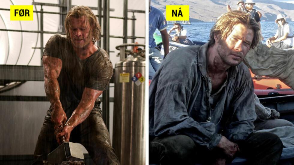 STOR FORANDRING: Kroppen til Chris Hemsworth har gjennomgått store forandringer fra sin rolle som muskelguden «Thor» til fisker i filmen «In The Heart of the Sea» Foto: Filmweb/Scanpix