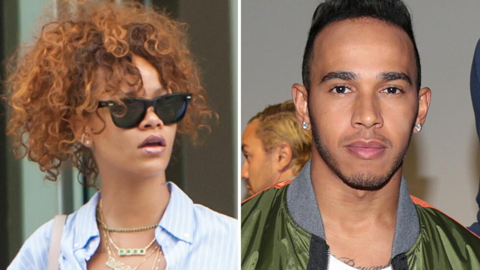 NYTT PAR?: En kilde nær Rihanna og Lewis Hamilton sier at de to har gått fra å være gode venner til å dra på stevnemøter sammen. Foto: Scanpix