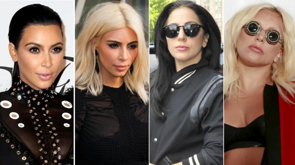 CELEBRE FRISYRER: Kim Kardashian (t.v) er kjent for sitt ravnsvarte hår, men noen få uker i mars var hun platinablond. Lady Gaga har hatt flere ulike hårfarger, men i slutten av mai gikk hun tilbake til platina etter en periode som mørkhåret.  Foto: NTB Scanpix