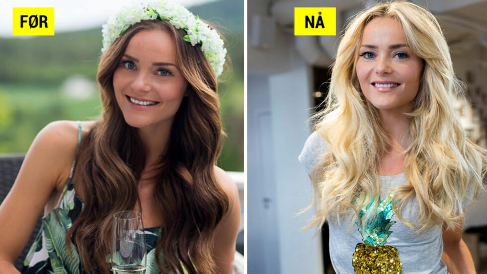 PLUTSELIG BLOND: Toppblogger Caroline Berg Eriksen overrasket fansen ved å gå fra brunette til blondine i løpet av en dag. Hun forteller om den ganske drastiske hårforvandlingen til Seoghør.no. Foto: Carolinebergeriksen.no (bilder brukt med tillatelse)