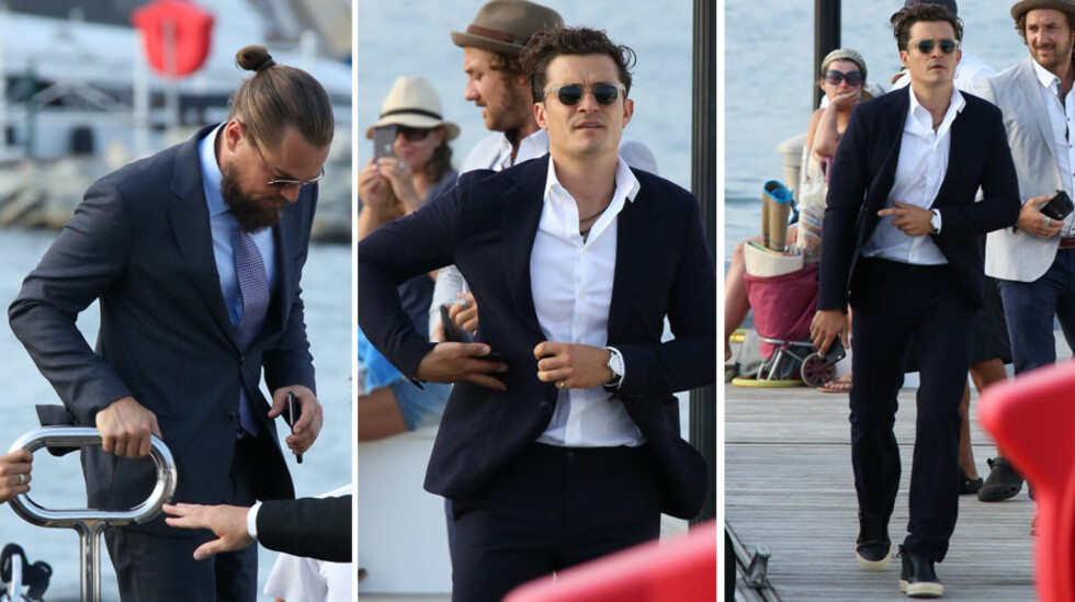 STJERNESPEKKET: Hollywood-kjekkas Orlando Bloom (t.h) fikk mye oppmerksomhet da han ankom St. Tropez sjøveien for å støtte Leonardos veldedighetsarrangement.  Foto: Splash News