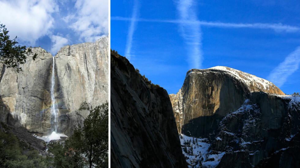 VAKRE OMGIVELSER: Ashton, Mila og Wyatt Isabelle har både Yosemite Fall og fjellet Half Dome like i nærheten av luksushotellet som huser dem på den jordnære bryllupsreisen. Foto: NTB Scanpix