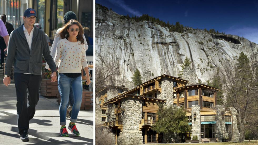 NYTER NATUREN: Stjerneparet Ashton Kutcher og Mila Kunis foretrekker å holde en lav profil, og de to ser ut til å ha planlagt bryllupsmarkeringen sin slik at den skulle bli mest mulig privat. De skal ha ankommet Ahwahnee Hotel i Yosemite nasjonalpark (t.h) i egen bobil. Foto: NTB Scanpix