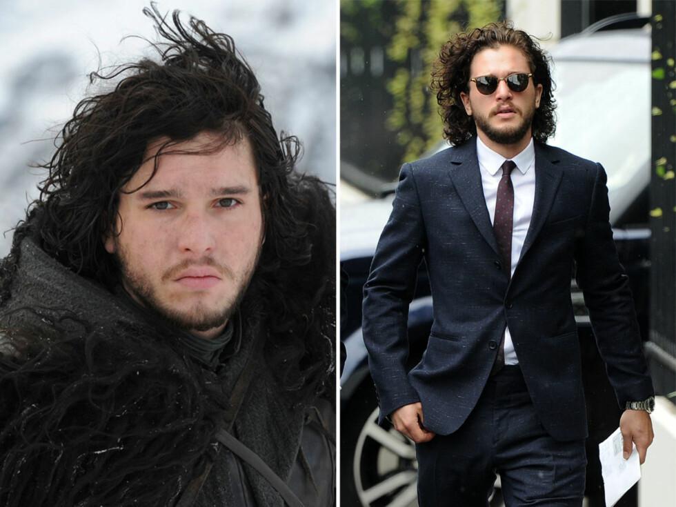 """BEHOLDT HÅRET: Kit Haringtons rollefigur, Jon Snow, er kjent for sine lange lokker. Etter karakterens død i """"Game of Thrones"""" har Kit valgt å beholde håret – noe som får fansen til å spekulere i om at han kanskje returnerer til neste sesong. Foto: Scanpix"""