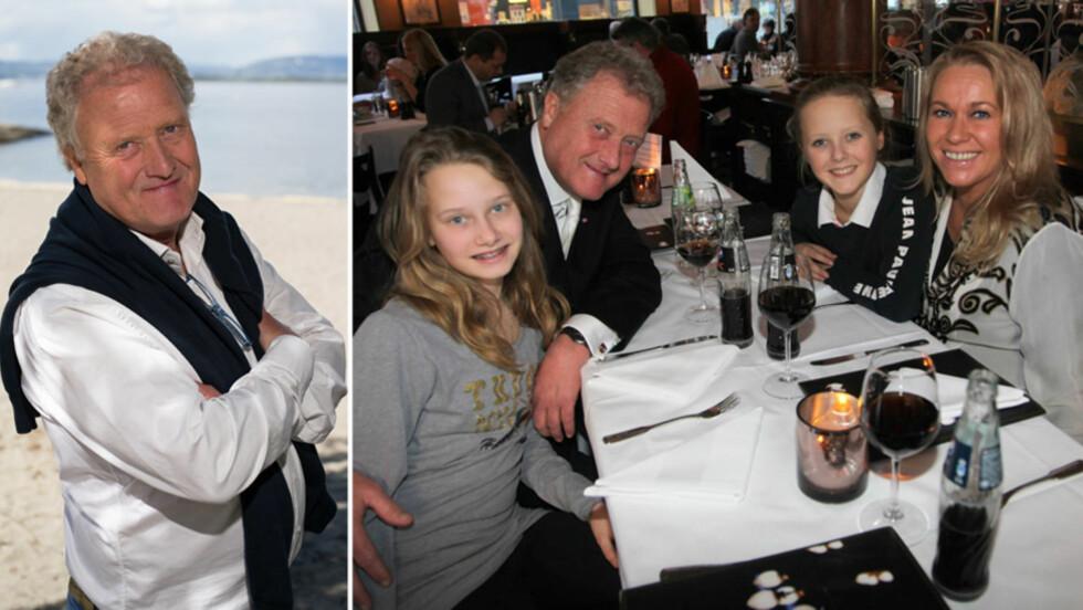 ELSKER TIVOLI: «Sommeråpent»-programleder Dan Børge Akerø sier til Seoghør.no at han fortsatt synes det er gøy å ta med barna sine til Tivoli i København, hvor han selv tilbrakte mange sommerferier som liten. Her med kona Mette og sine to yngste døtre, tvillingene Benedicte og Johanne, for et par år siden.  Foto: NTB Scanpix/ Se og Hør