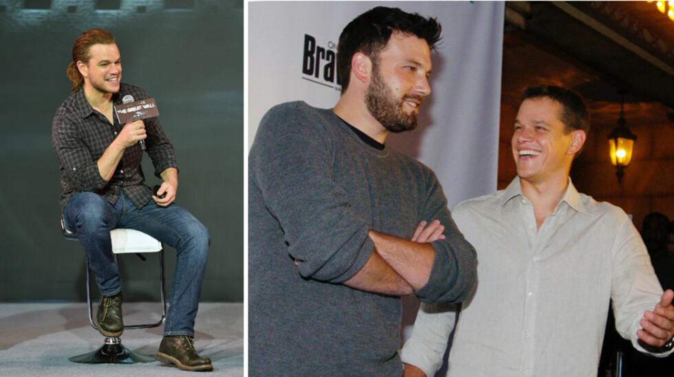 STJAL FOKUS: Tirsdag ble det kjent at Matt Damons nære venn, Ben Affleck (t.h), skal skilles. Et par dager senere stjal Damons overskriftene ved å vise frem hestehalen sin i Beijing for første gang. Foto: NTB Scanpix