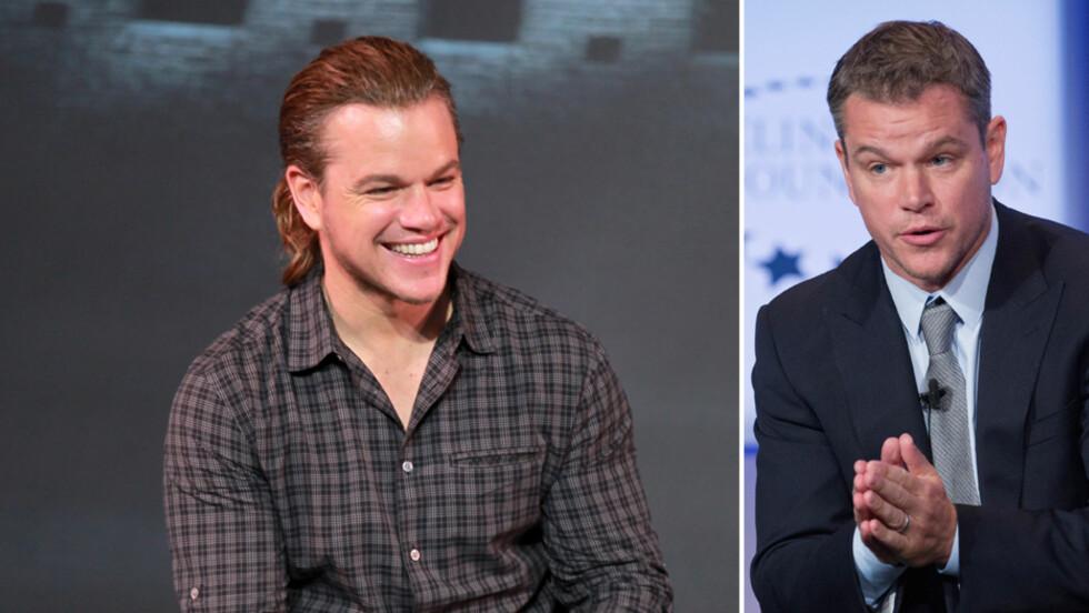HÅRETE OVERRASKELSE: På pressekonferanse for Matt Damons nyeste film i Beijing torsdag, var det hestehalen til stjernen som stakk av med oppmerksomheten. Nå koker nettet av spøkefulle kommentarer og spekulasjoner om sveisen. Tidligere har han alltid hatt kortere hår, som i september 2014 (t.h). Foto: NTB Scanpix
