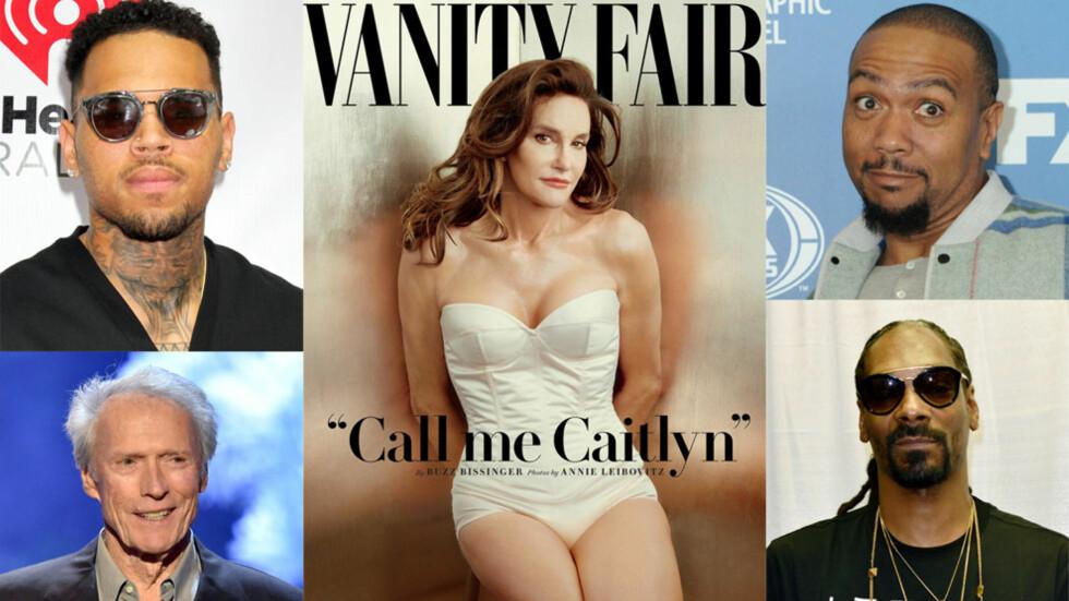 NEGATIVE: Chris Brown (øverst t.v.), Clint Eastwood (nederst t.v.), Timbaland (øverst t.h.) og Snoop Dogg (nederst t.h.) har alle kommet med mindre positive kommentarer om Caitlyn Jenner (midten) i media og på sosiale medier.  Foto: NTB Scanpix