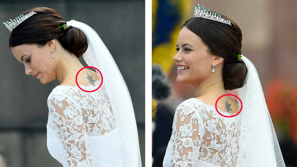 STOLT: Sofia Hellqvist - nå prinsesse Sofia av Sverige - har tidligere uttalt at hun er stolt over sin festglade ungdom, og at det har gjort henne til den hun er i dag. Hun angrer heller ikke på den mye omdiskuterte tatoveringen hun har på ryggen. Brudekjolen, som er designet av svenske Ida Sjöstedt, var laget slik at tatoveringen var synlig. Foto: NTB Scanpix