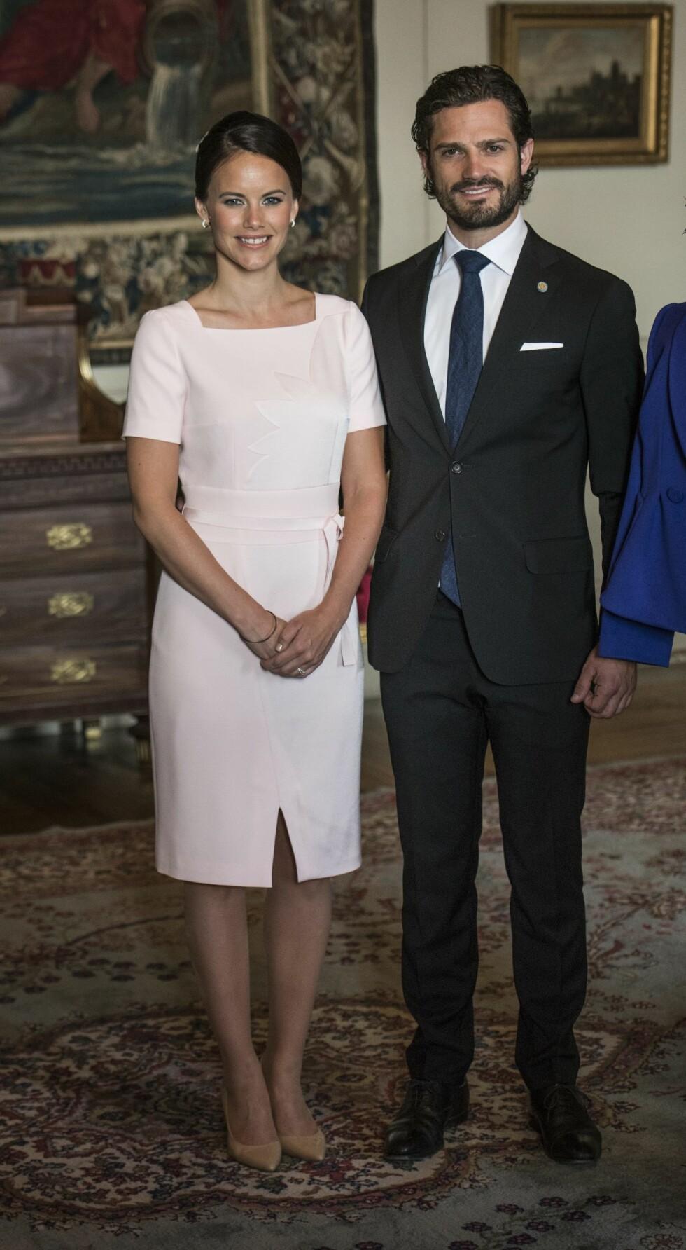VÅREN 2015: Sofia Hellqvist og prins Carl Philip på velkomstseremonien for Indias president, Shri Pranab Mukherjee, på Stockholms slott. Sofias brunfarge kom til sin rett i den blekrosa kjolen. Båndet i livet bryter opp på en diskret måte. Foto: TT NYHETSBYRÅN