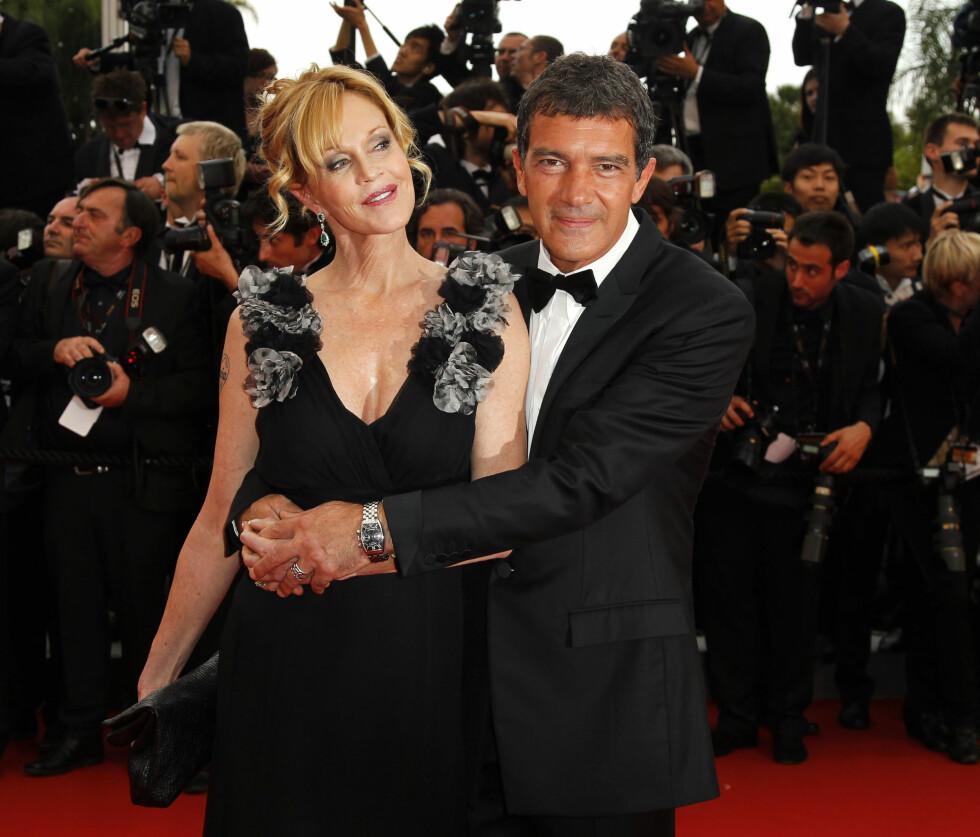 <strong>LYKKELIGE TIDER:</strong> Her er Melanie og Antonio sammen på Cannes festivalen i 2011 mens de ennå var et par.  Foto: Ap