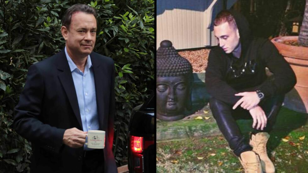 ETTERLYST: Tom Hanks' 24 år gamle sønn, Chester, er etterlyst for å angivelig ha gjort store skader på et hotellrom utenfor London. Foto: NTB Scanpix / Twitter