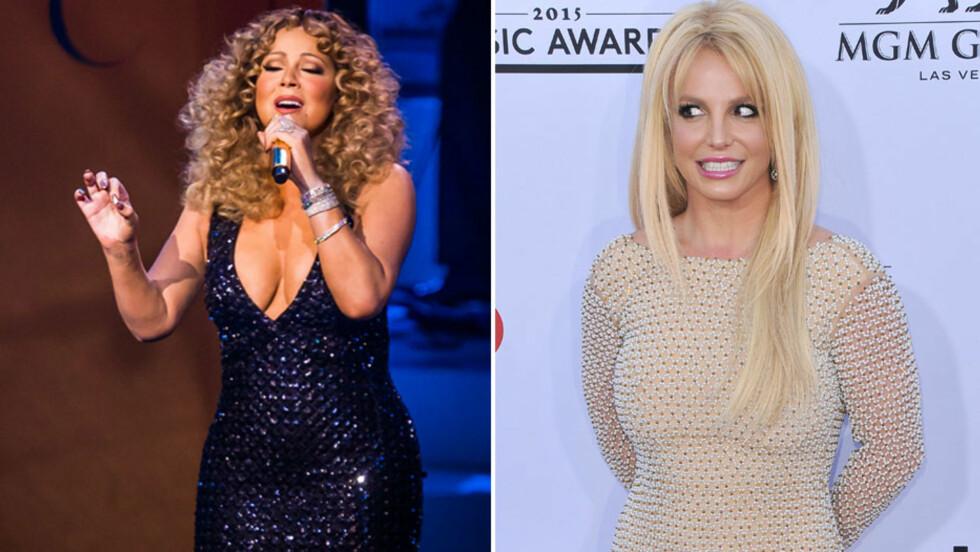 RØPET INTIM HEMMELIGHET: Da Britney Spears gjestet et radioshow torsdag, avslørte popstjernen at hun har lyttet til Mariah Careys (t.v) nyeste album mens hun har bedrevet kunstmaling toppløs. Her er Carey på scenen under debutkonserten sin i Las Vegas for en måned siden.  Foto: INFphoto.com/ SipaUSA