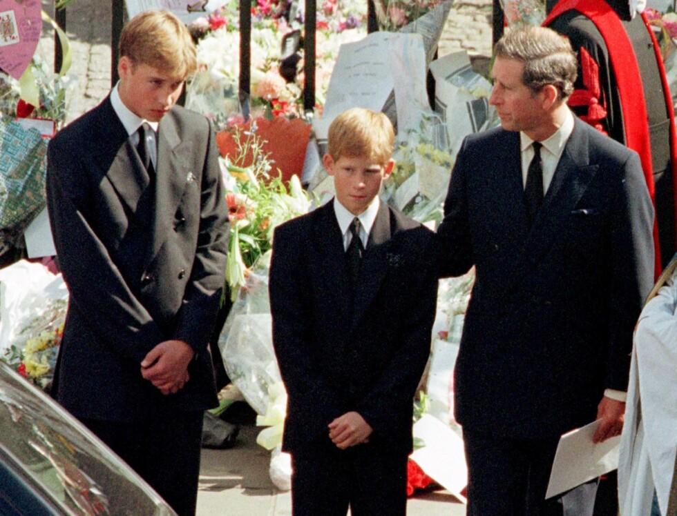 SÅRT SAVN: Prins William og prins Harry mistet moren sin, prinsesse Diana, for snart 18 år siden. Diana, som gikk bort 36 år gammel, fikk aldri møte sine to barnebarn. Foto: REUTERS