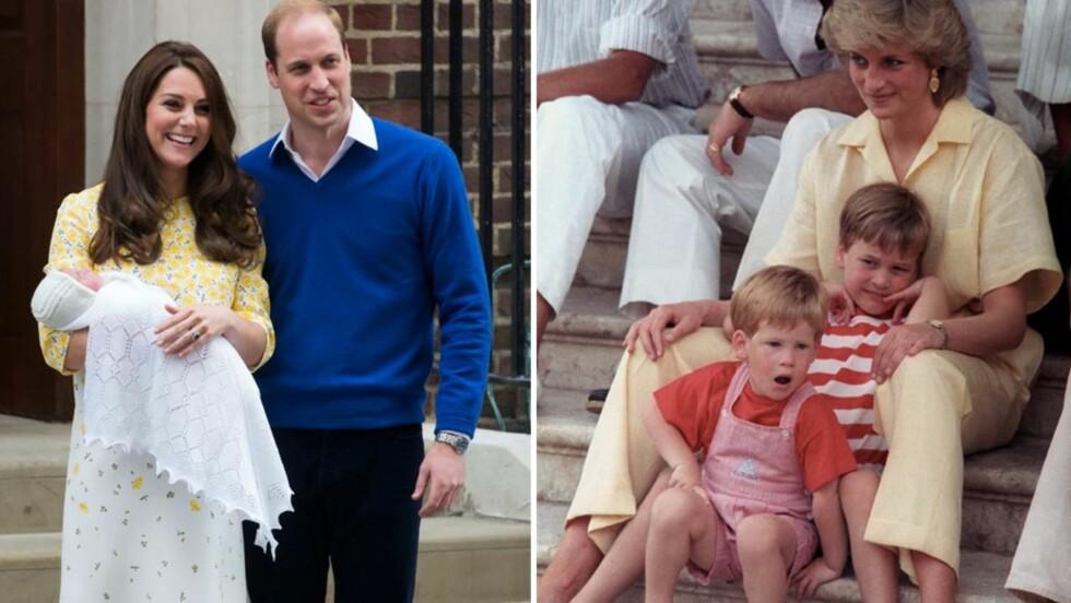 MINNES DIANA: Prins William og hertuginne Kates første datter, prinsesse Charlotte Elizabeth Diana, er oppkalt etter prinsens avdøde mor. Hun skal også døpes i samme kirke som prinsesse Diana (t.h) - her avbildet på ferie i Palma de Mallorca i 1987, sammen med prins William og prins Harry (foran).  Foto: NTB Scanpix