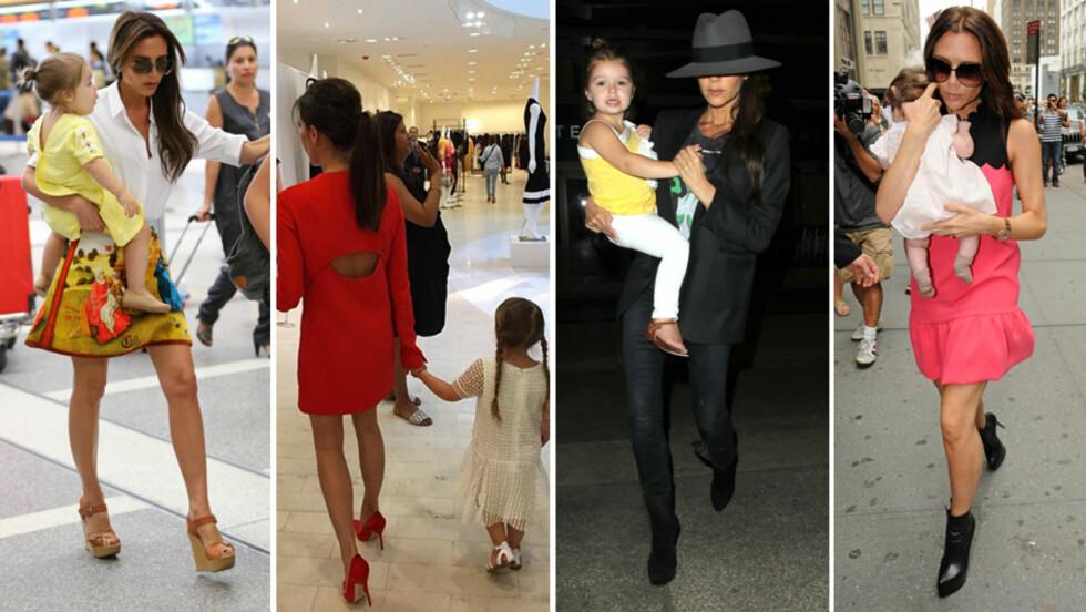 MOR OG DATTER: I sommer kan Victoria Beckham juble over at det er fire år siden datteren Harper Seven kom til verden. Her er mor og datter sammen (f.v) på flyplassen i L.A. sommeren 2013, på Barneys i L.A. i april, i samme by sommeren 2014 og i New York i september 2011 - da Harper var knappe to måneder gammel. Foto: NTB Scanpix