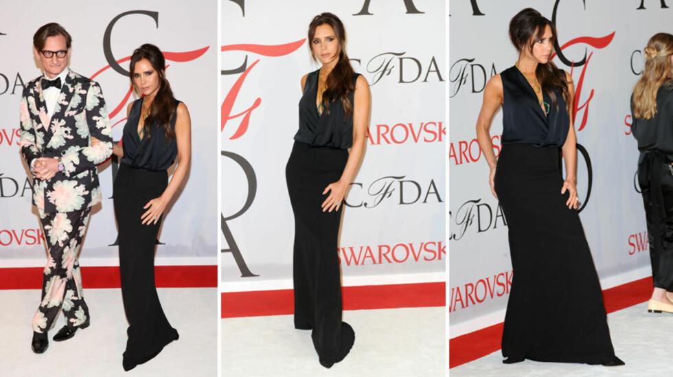 FIKK FULLT FOKUS: Da Victoria Beckham ankom CFDA Fashion Awards sammen med moteredaktør Hamish Bowles (t.v) mandag, stjal hun mesteparten av oppmerksomheten fra prisvinnerne Ashley og Mary-Kate Olsen - som såvidt er synlige ytterst til høyre. Foto: NTB Scanpix
