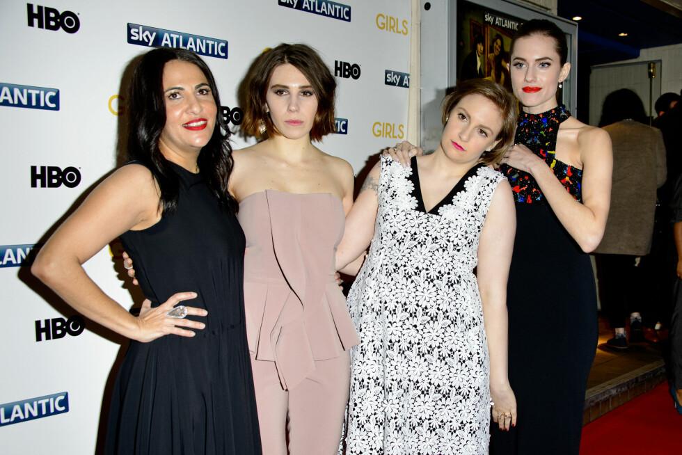 TV-STJERNER: Jenni Konner, Zosia Mamet, Lena Dunham og Alison Williams har blitt kjente gjennom TV-serien Girls. Foto: Pa Photos