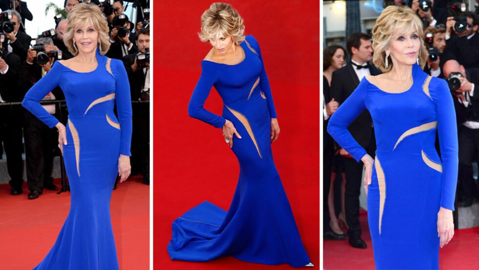 BLIKKFANG: Alles øyne var på Jane Fonda da hun inntok den røde løperen i Cannes. Det er ingen tvil om at 77-åringen holder seg godt! Foto: Scanpix