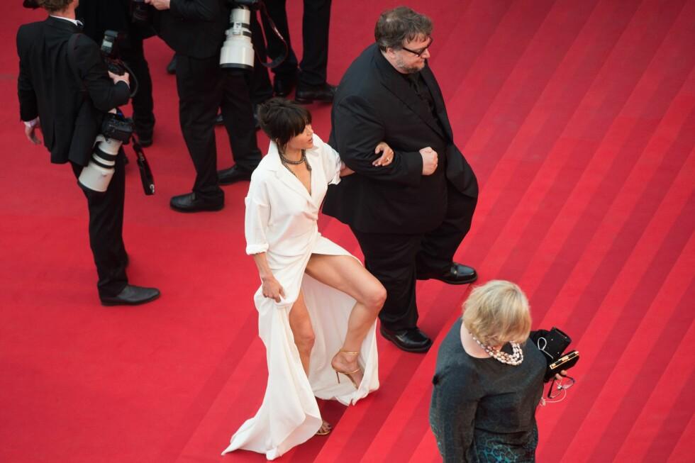 VÅGAL: Sophie Marceau sammen med den meksikanske filmregissøren Guillermo del Toro, begge medlemmer i Cannes-juryen for beste spillefilm. Foto: Afp