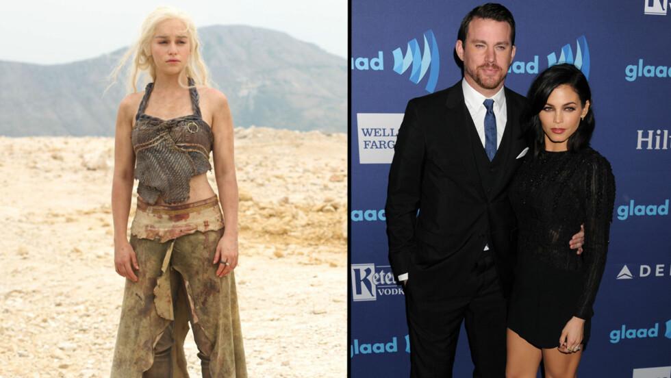 IVRIG: Da Emilia Clarke fikk høre at Channing Tatum og kona Jenna Dewan var Game of Thrones-fans, spurte hun om de ville gjøre noe seksuelt sammen med henne. Foto: SipaUSA
