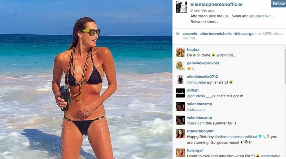 UTENOMJORDISK: En måned før Elle fylte 51 år postet hun dette bilde av seg selv på Instagram.