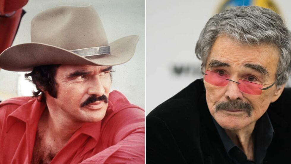 <strong>STOR FORANDRING:</strong> Det har riktignok gått nesten 40 år siden filmkjekkas Burt Reynolds spilte i «Smokey and the Bandit» (t.v), men skuespilleren overrasket likevel da han dukket opp på filmkonferanse i Philadelphia i helgen (t.h). Foto: NTB Scanpix