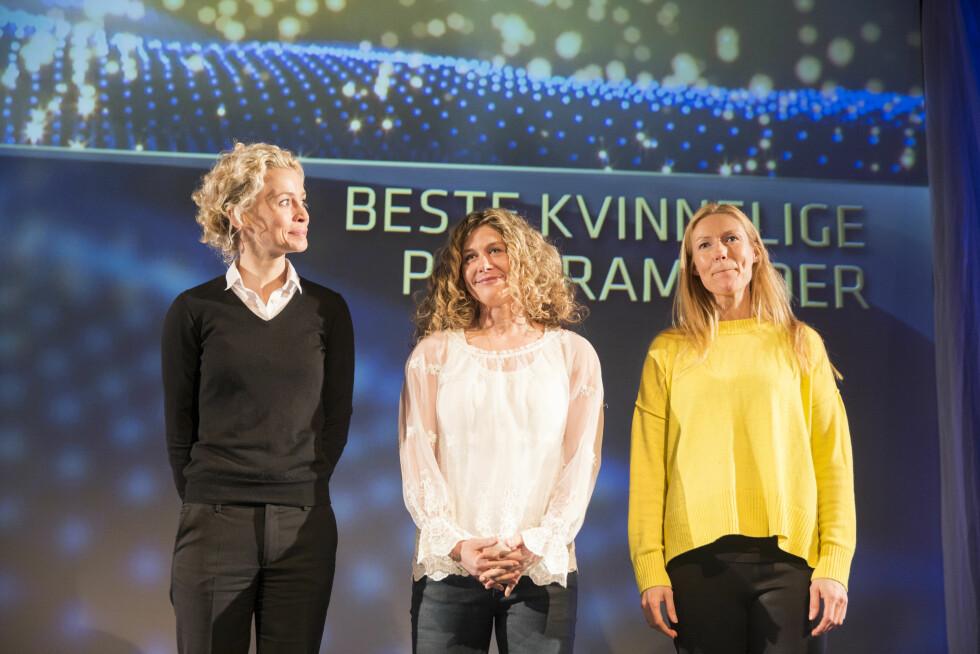 TV-FAVORITT: I mars ble Cecilie Skog (midten) annonsert som Gullruten-nominert i kategorien «Beste kvinnlige programleder», sammen med Ingunn Solheim og Helene Sandvig (t.h). Foto: NTB scanpix