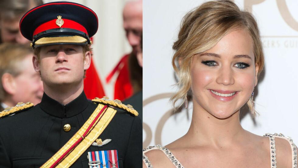 <strong>AVSLAG:</strong> Jennifer Lawrence er ikke interessert i å hverken spise middag med prins Harry eller få en privat omvisning på Kensington Palace. Foto: NTB Scanpix