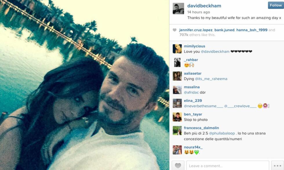 FLOTT PAR: David Beckham og Victoria har vært gift siden 1998. De har fire flotte barn sammen, og har etablert seg til å bli et av verdens mektigste kjendispar. Foto: Skjermdump Instagram