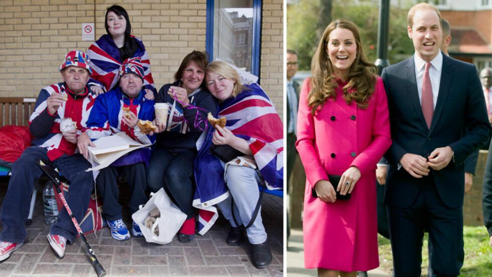 SENDTE KAFFE OG KAKER: Da hertuginne Kate og prins William fikk høre om den trofaste fansen som i flere dager har ventet på baby nummer to utenfor The Lindo Wing, sendte Kensington Palace dem kaffe og bakevarer. Foto: NTB Scanpix