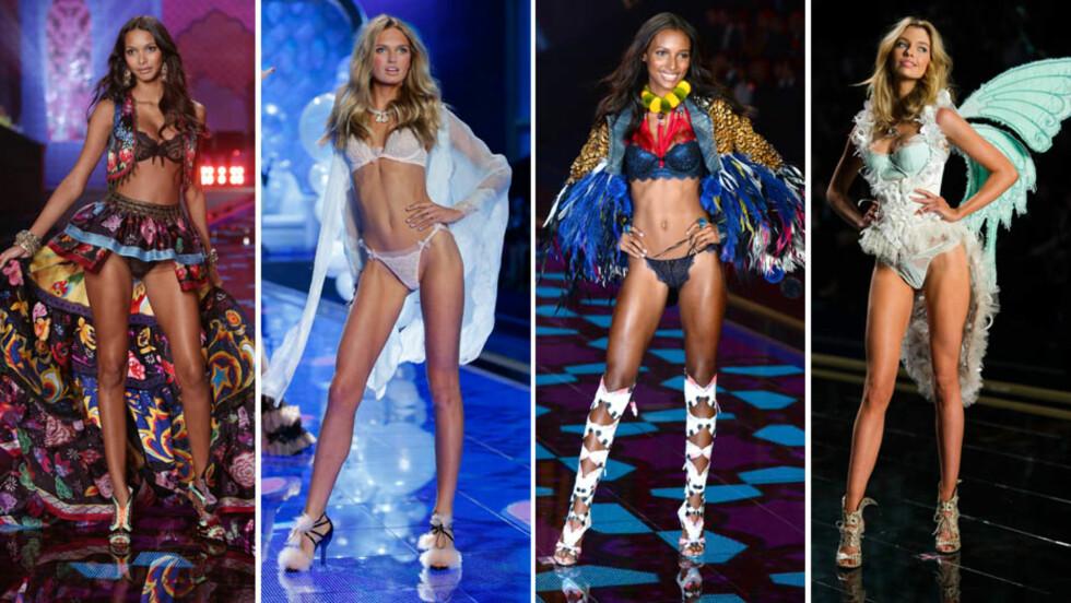 NYE FRONTFIGURER (f.v): Lais Ribeiro, Romee Strijd, Jasmine Tookes og Stella Maxwell er blant de ti utvalgte modellene som nå blir en del av Victoria's Secrets ansikt utad, som nye «engler». Foto: NTB Scanpix/ Stella Pictures