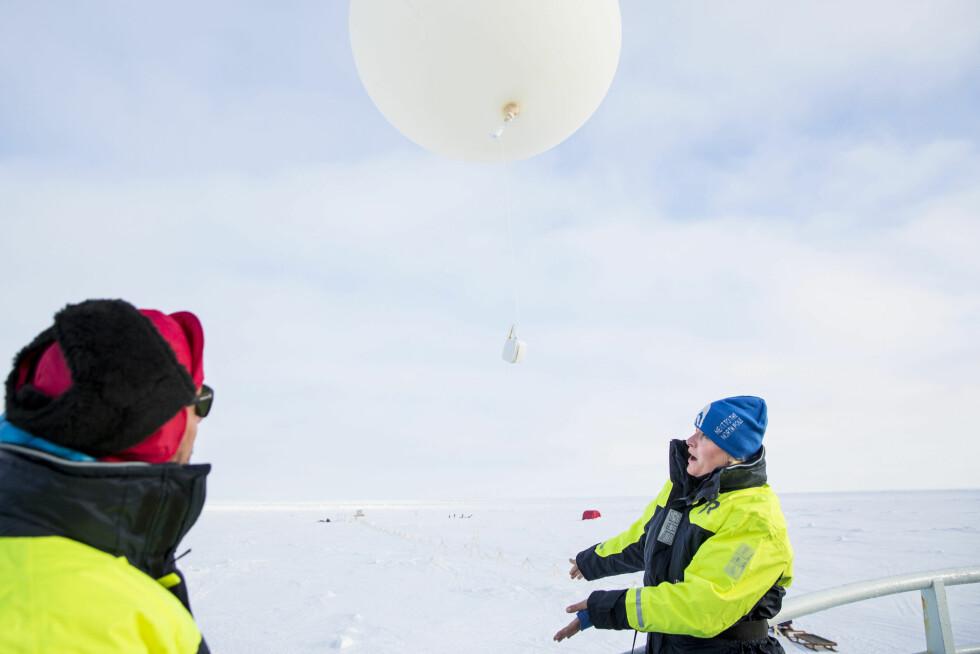 FORSKER: Mette-Marit sender opp en ballong med måleinstrumenter, og Haakon følger med på kona. Foto: NTB scanpix
