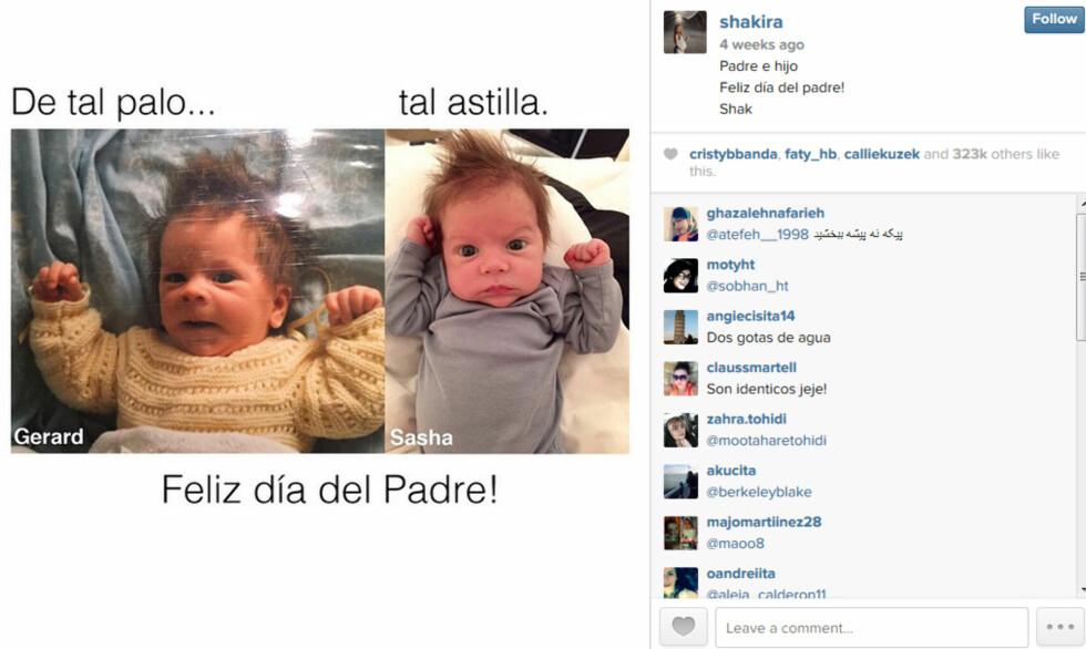 SE LIKHETEN: Shakira delte dette bildet med sine Instagram-fans for å vise hvem hennes nye sønn ligner mest på . Barnet til venstre er Gerard Pique som liten.